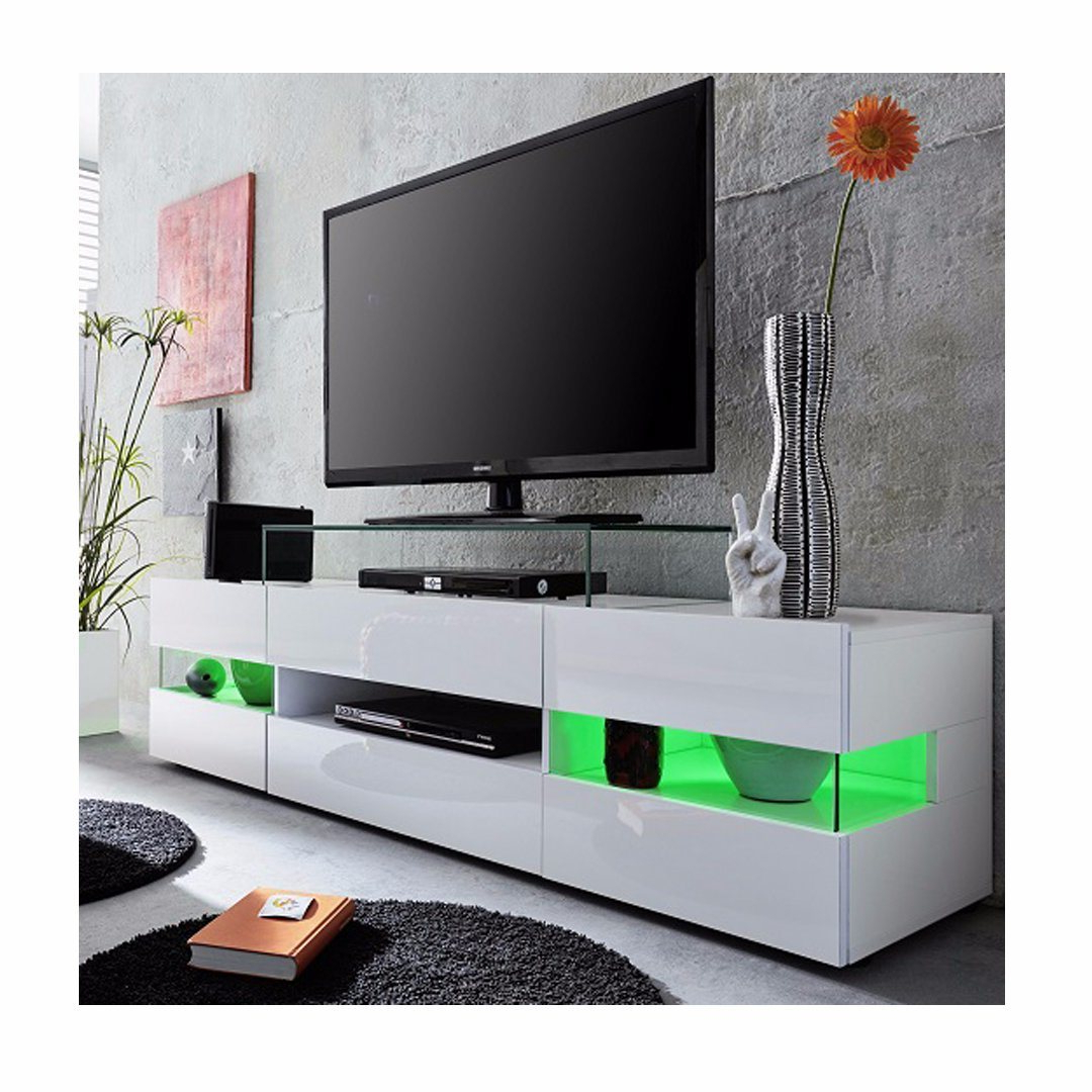 Well Known Zimtown Tv Stands With High Gloss Led Lights Intended For China White High Gloss Led Tv Unit Cabinet Stand – China (View 1 of 10)