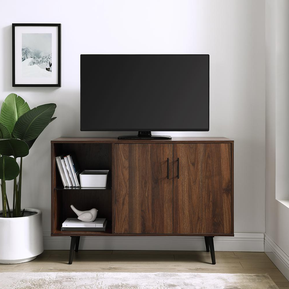 """Well Liked 44"""" Mid Century Modern Asymetrical Accent Storage Console Inside Mid Century 2 Door Tv Stands In Dark Walnut (View 6 of 10)"""