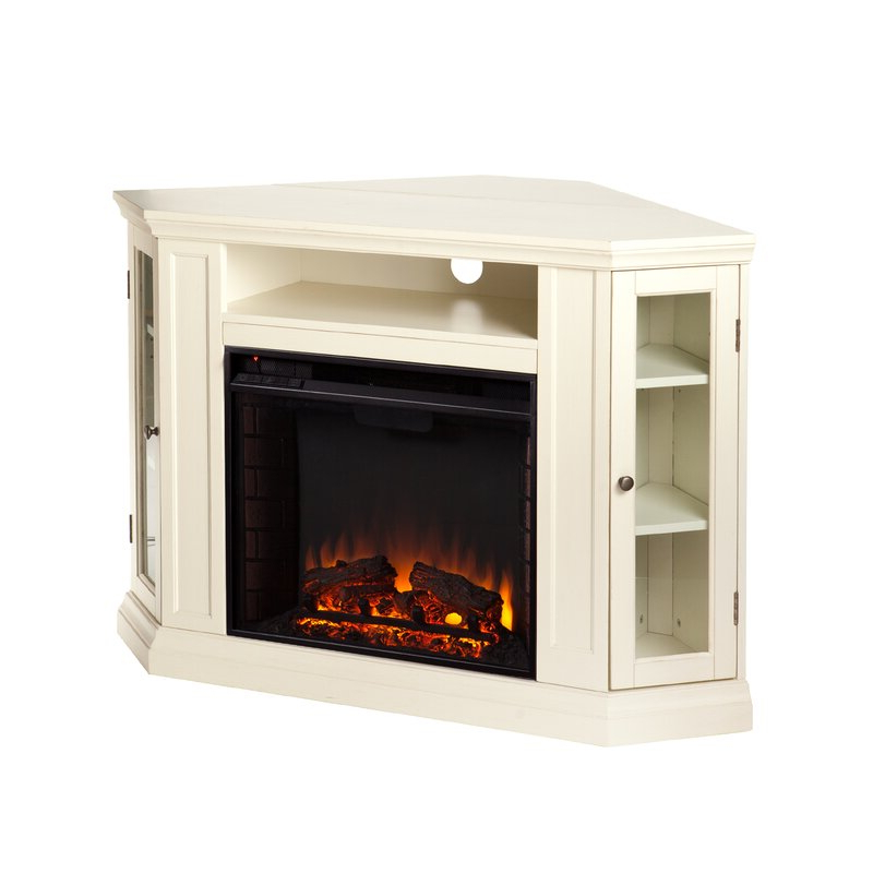 Well Liked Alcott Hill Dunminning Corner Tv Stand With Fireplace For Compton Ivory Corner Tv Stands With Baskets (View 15 of 25)