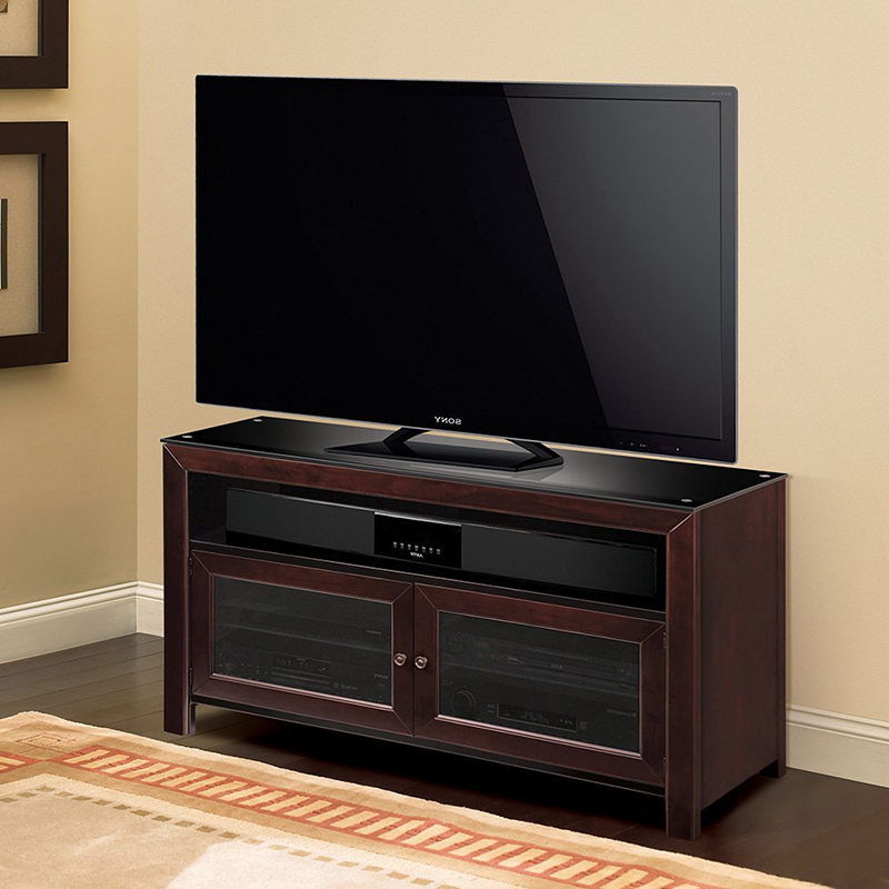 """Well Liked Baba Tv Stands For Tvs Up To 55"""" Regarding Bello Wmfc503 No Tools Assembly Deep Mahogany Finish Wood (View 10 of 25)"""