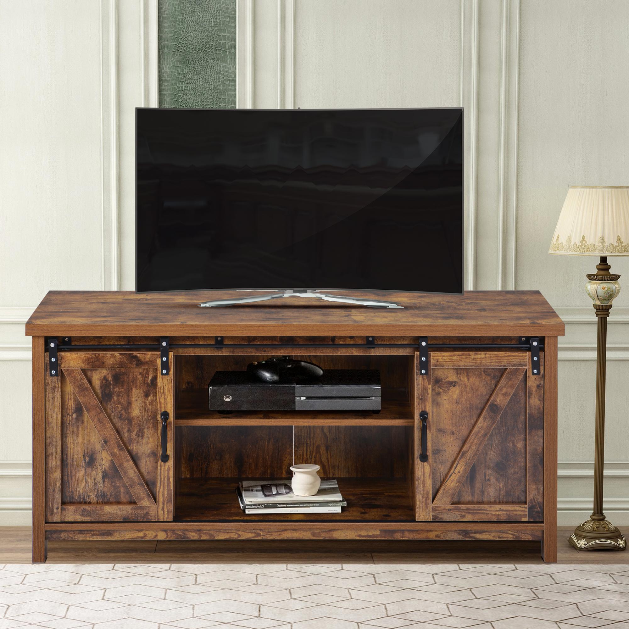 Well Liked Barn Door Wood Tv Stands Throughout Urhomepro Corner Tv Stand, Modern Farmhouse Barn Door Tv (View 4 of 10)
