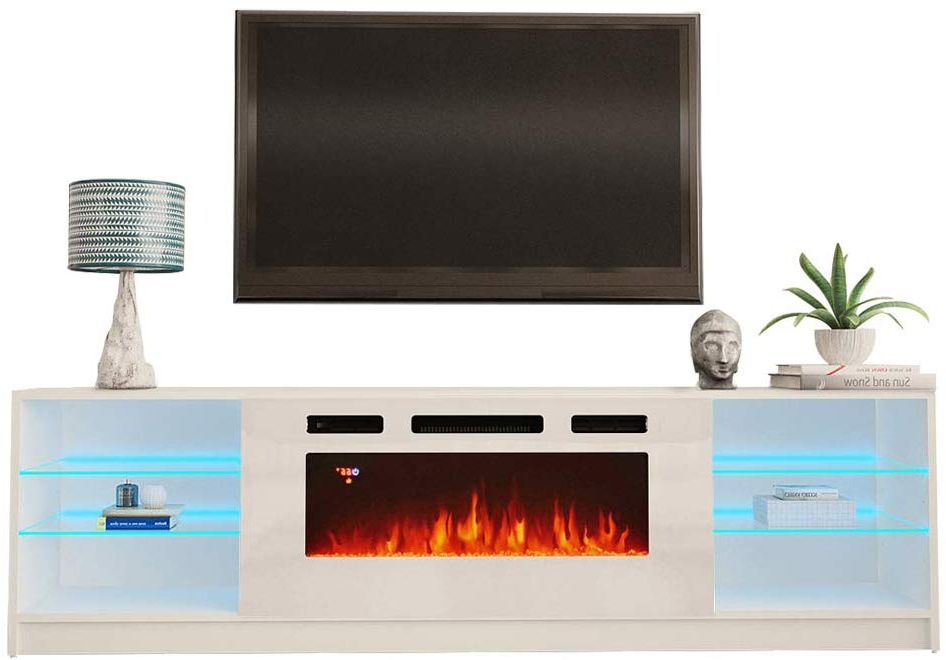 """Well Liked Boston Wh01 Electric Fireplace Modern 79"""" Tv Stand With Boston Tv Stands (View 3 of 10)"""