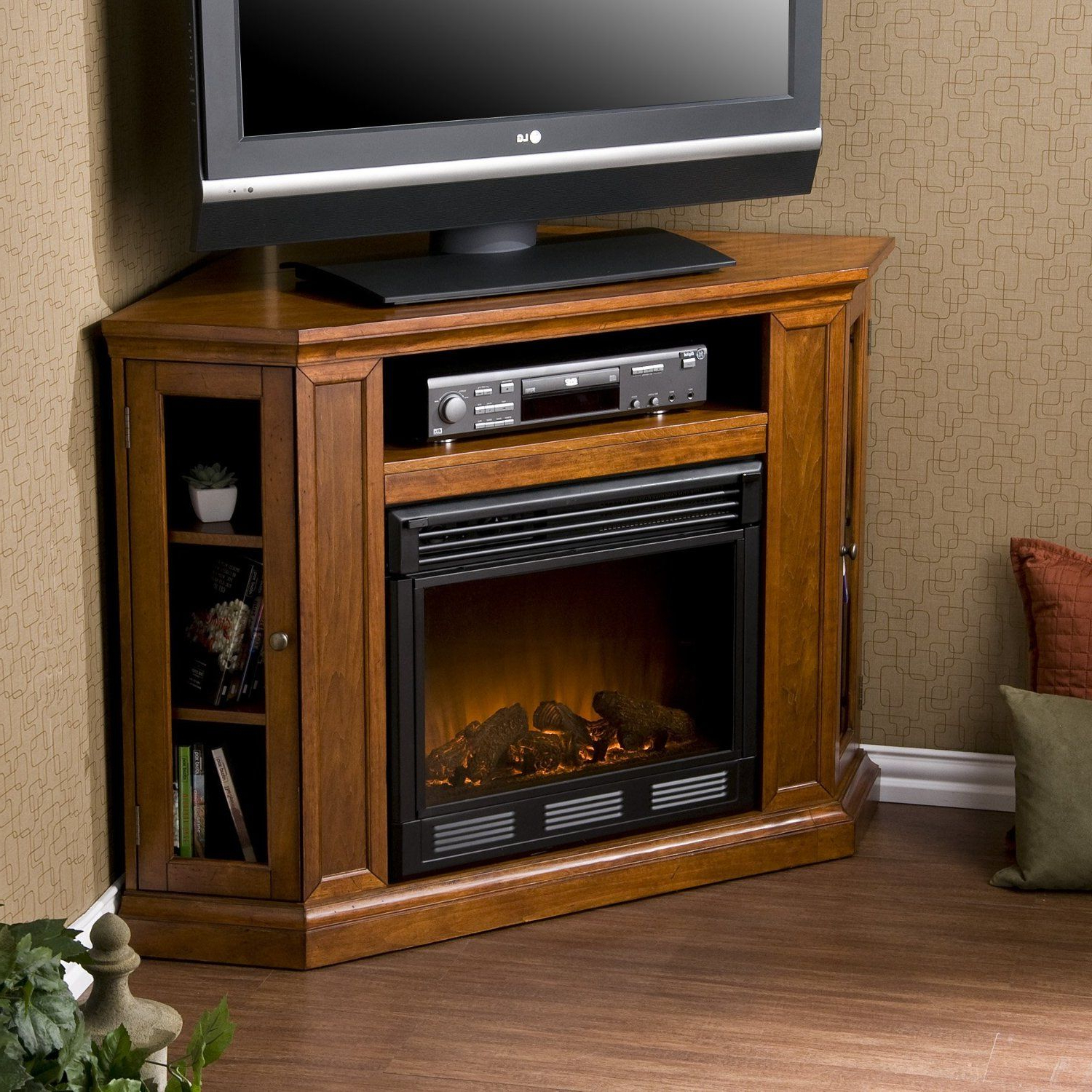Well Liked Compton Ivory Corner Tv Stands For Sei Claremont Media Console Corner Fireplace Tv Stand In (View 17 of 25)