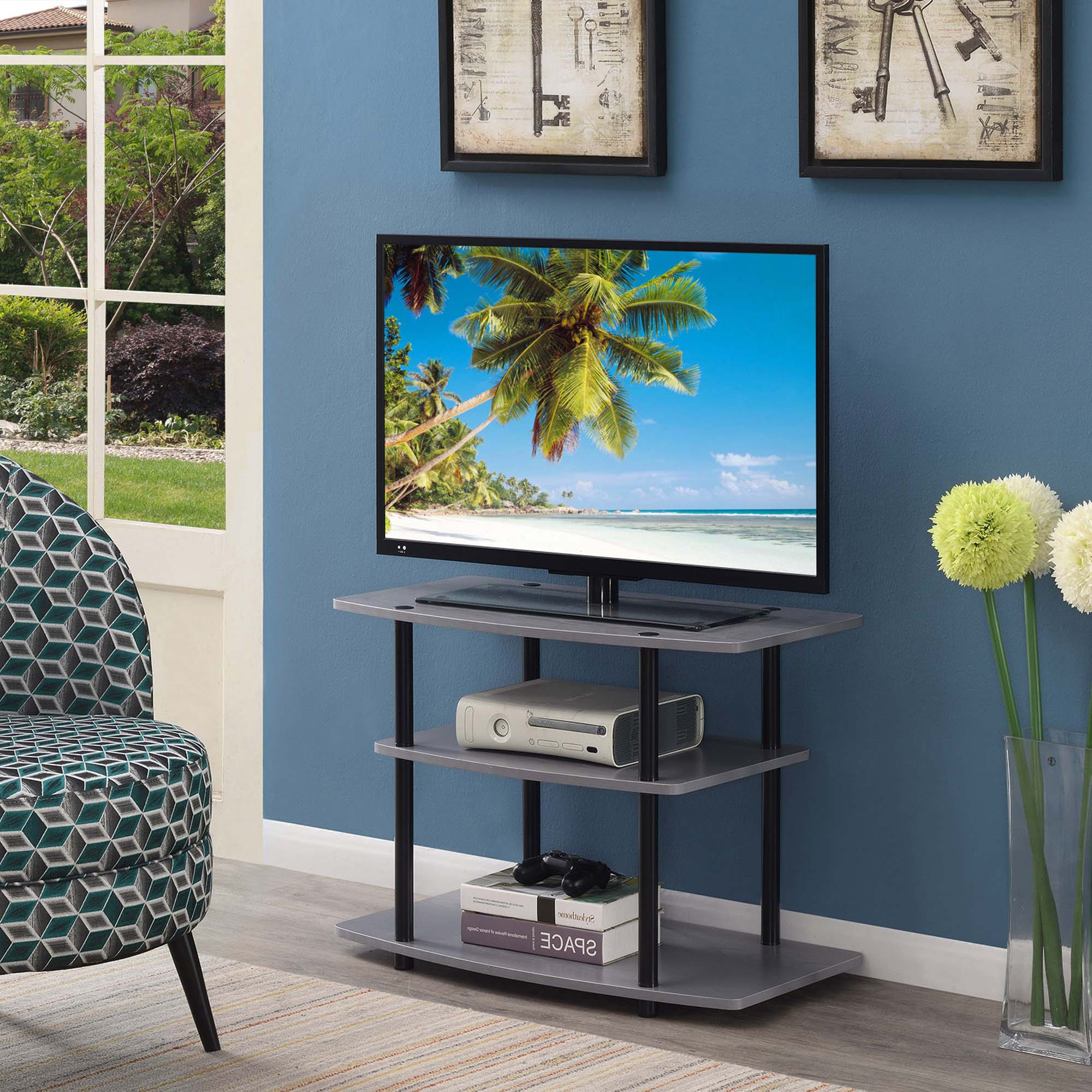 Well Liked Convenience Concepts Designs2go 3 Tier Tv Stand, Gray Regarding Tier Entertainment Tv Stands In Black (View 5 of 10)