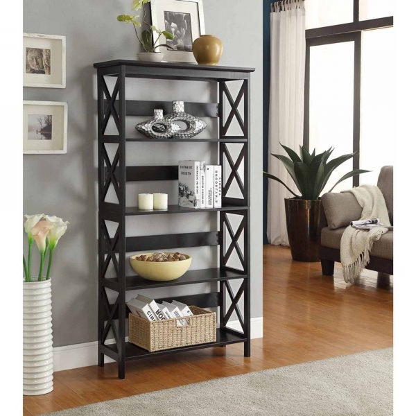 Well Liked Convenience Concepts Oxford 5 Tier Bookcase, Black  Retail For Whalen Xavier 3 In 1 Tv Stands With 3 Display Options For Flat Screens, Black With Silver Accents (View 10 of 10)