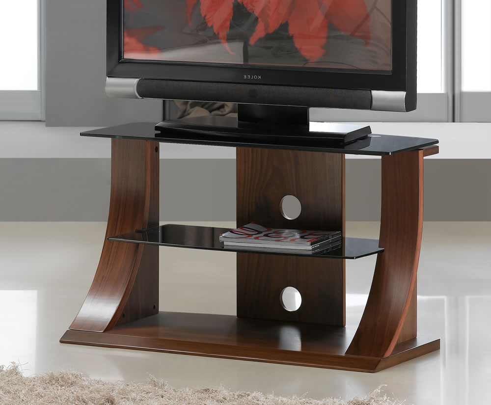 Well Liked Dudley Small Walnut Glass Tv Stand In Manhattan Compact Tv Unit Stands (View 3 of 10)