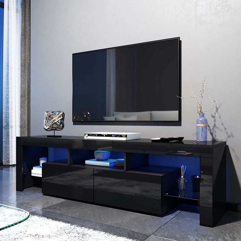 Well Liked Elegant 1600mm Modern Black Gloss Tv Unit Stand With Led Within Carbon Tv Unit Stands (View 3 of 10)