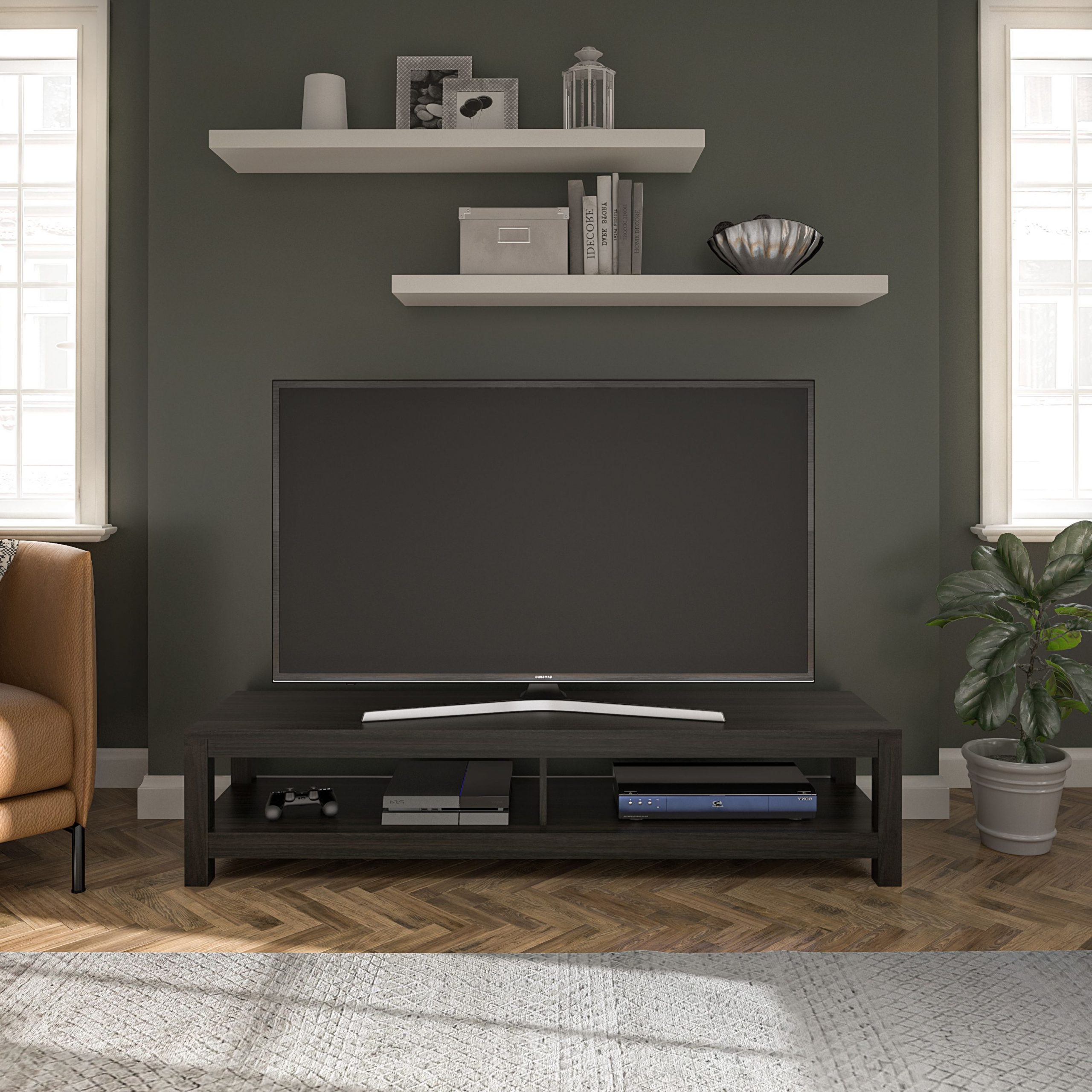 """Well Liked Karon Tv Stands For Tvs Up To 65"""" Intended For Mainstays Easy Assembly Tv Stand For Tv's Up To  (View 2 of 25)"""