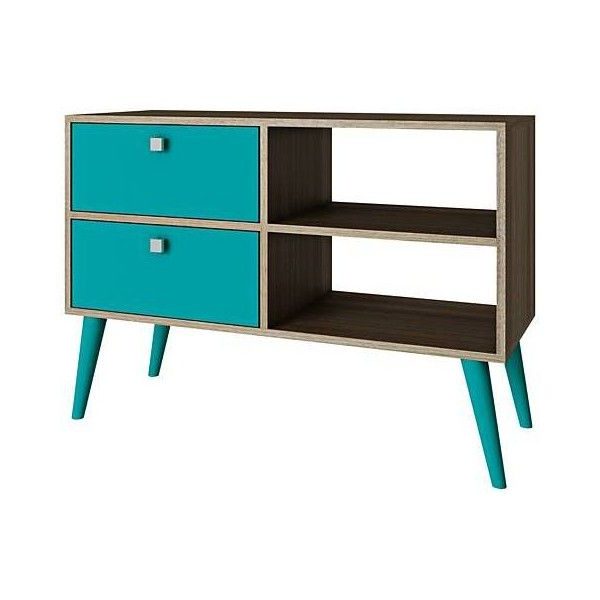 Well Liked Manhattan 2 Drawer Media Tv Stands Throughout Dalarna 2 Drawer Aqua And Oak Wood Frame Tv Stand (165 Bam (View 6 of 25)