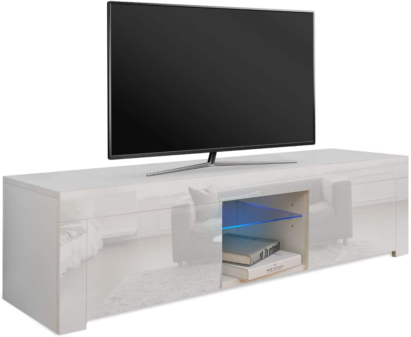 Well Liked Solo 200 Modern Led Tv Stands Pertaining To Tv Cabinet Entertainment Unit Stand Blue Led Gloss (View 4 of 10)