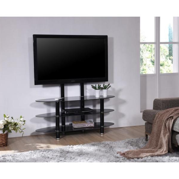 Well Liked Space Saving Black Tall Tv Stands With Glass Base For Hodedah 43 In (View 3 of 10)