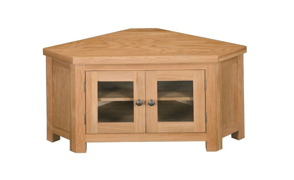 Well Liked Suffolk Solid Oak Corner Glazed Tv Unit, Solid, American In Lucy Cane Cream Corner Tv Stands (View 7 of 25)