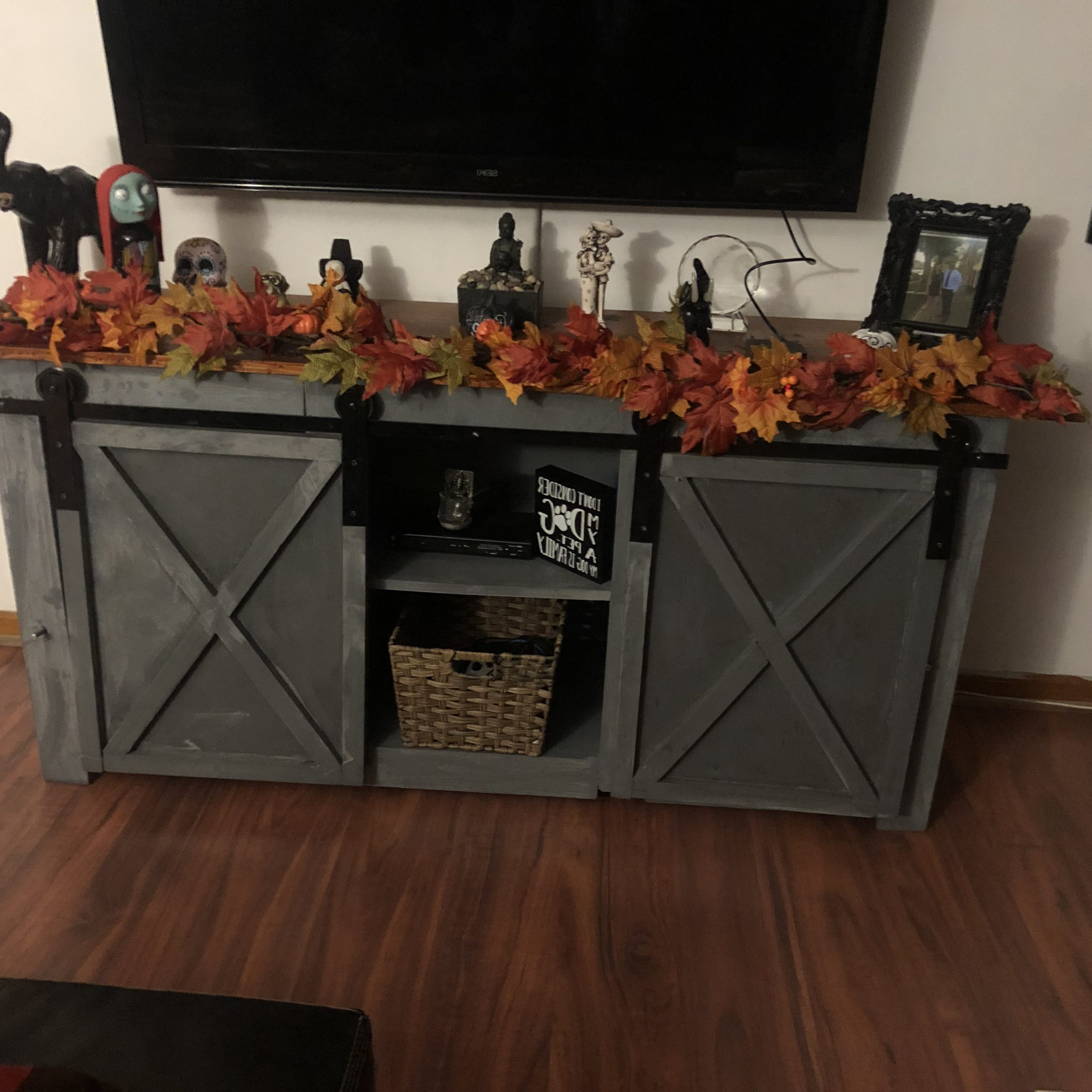 Well Liked Tv Stand – Ryobi Nation Projects With Regard To Farmhouse Woven Paths Glass Door Tv Stands (View 8 of 10)