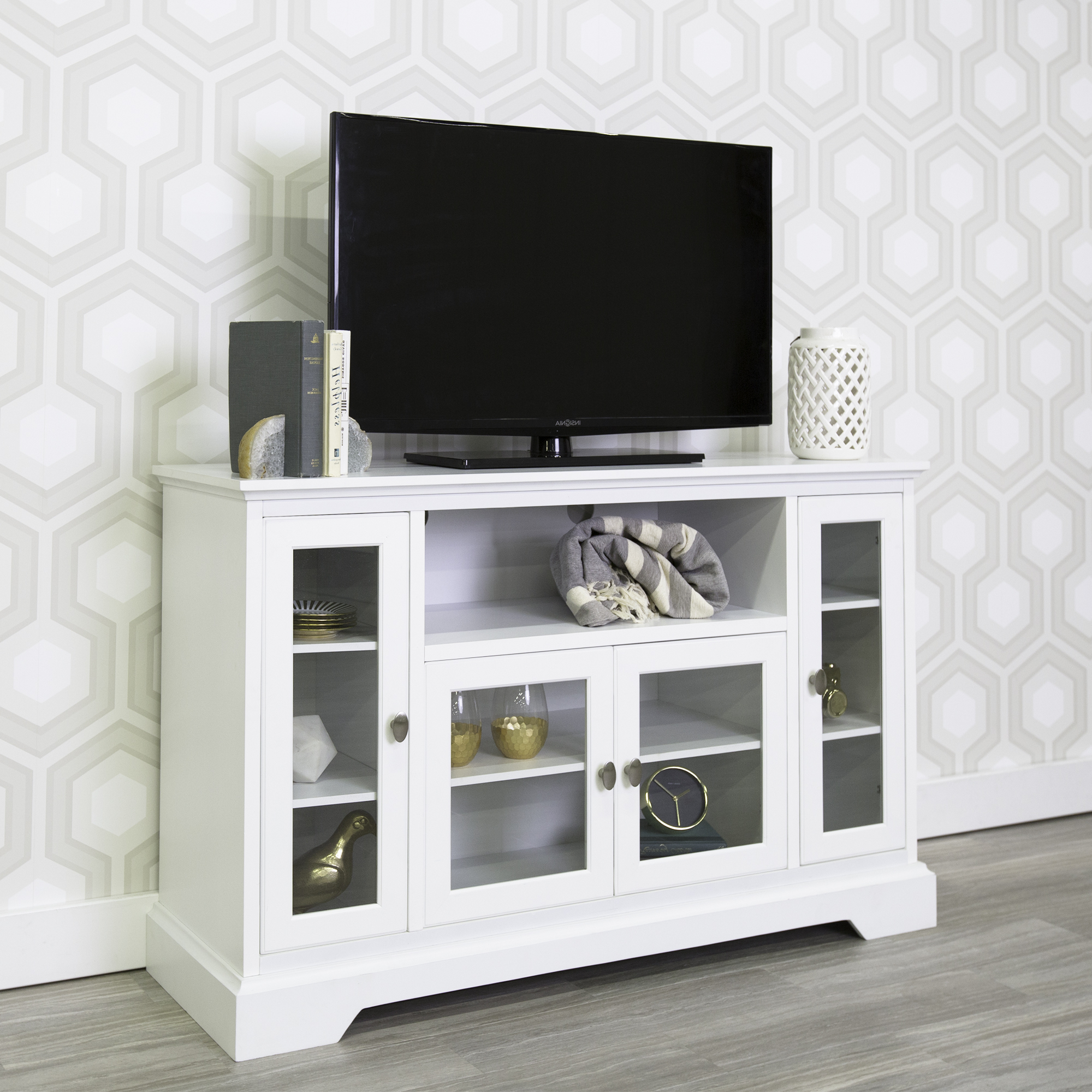 """Well Liked Walker Edison Highboy Style Wood Media Storage Tv Stand Inside Evelynn Tv Stands For Tvs Up To 60"""" (View 13 of 25)"""
