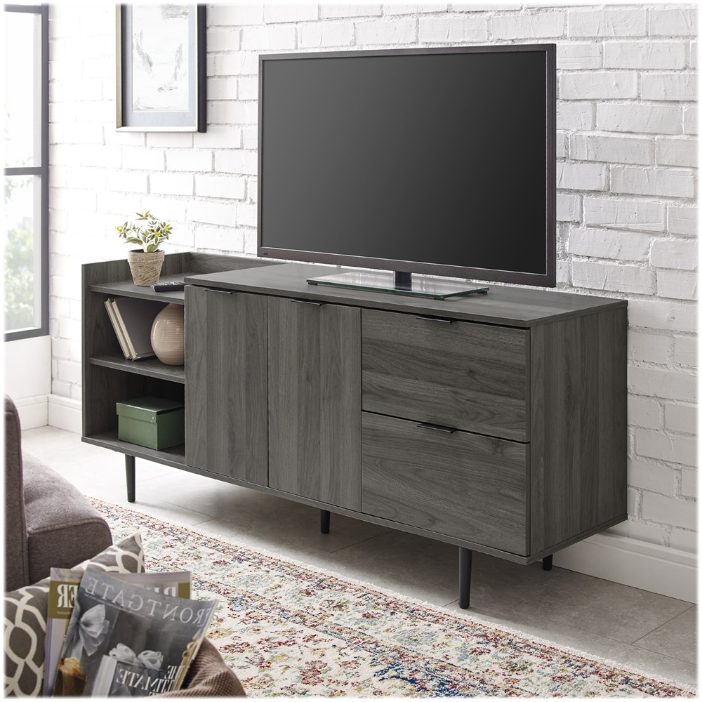 Well Liked Walker Edison Modern Tv Stand Cabinet For Most Flat Panel In Corona Grey Flat Screen Tv Unit Stands (View 6 of 10)