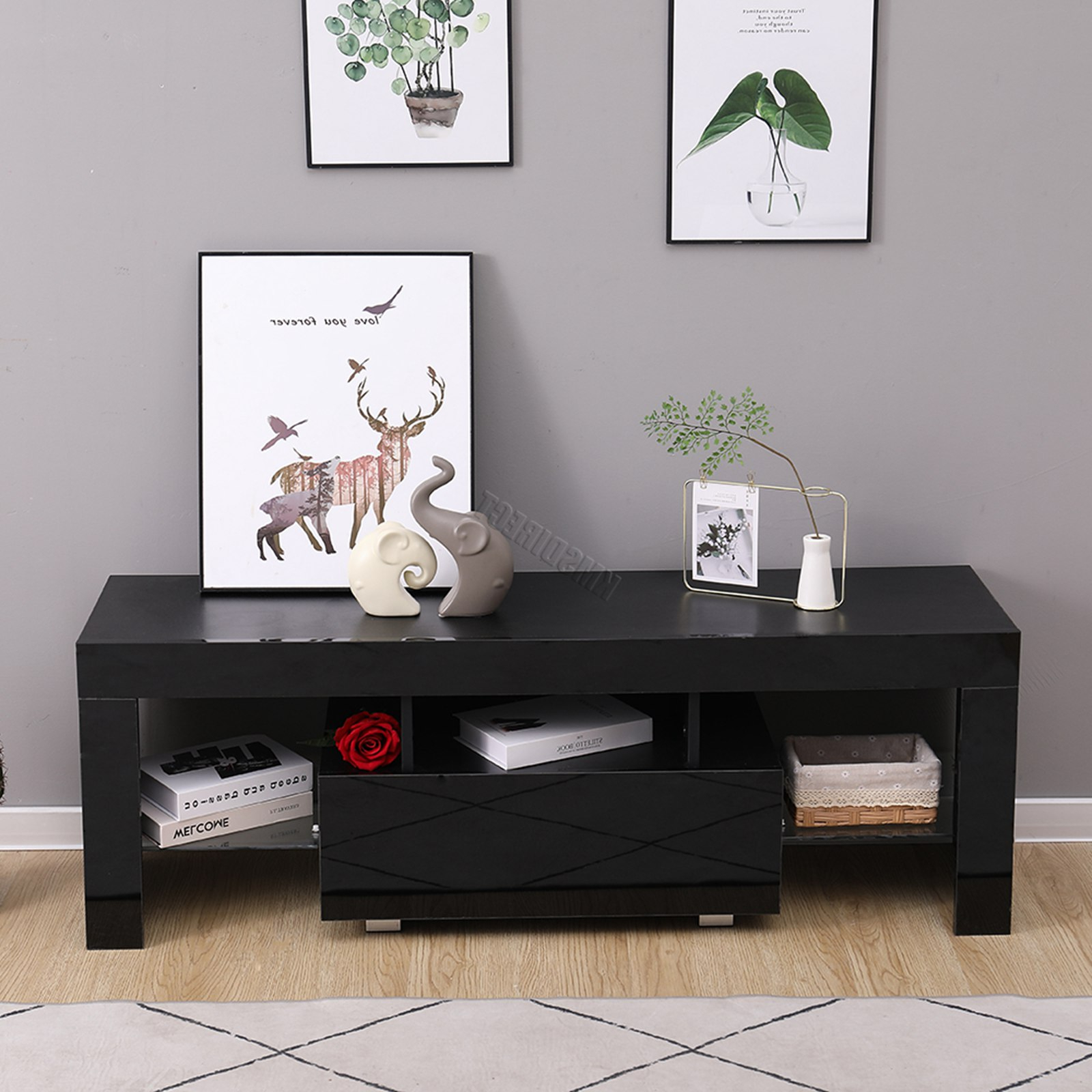 Westwood Morden High Gloss Matt 130cm Tv Cabinet Unit For Preferred Zimtown Tv Stands With High Gloss Led Lights (View 6 of 10)