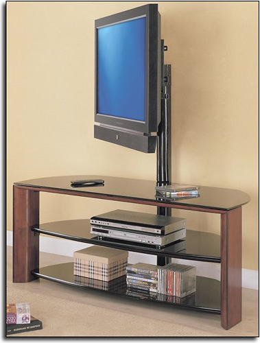 """Whalen Furniture Black Tv Stands For 65"""" Flat Panel Tvs With Tempered Glass Shelves Throughout Most Popular Whalen 3 In 1 Tv Stand Instructions (View 9 of 10)"""