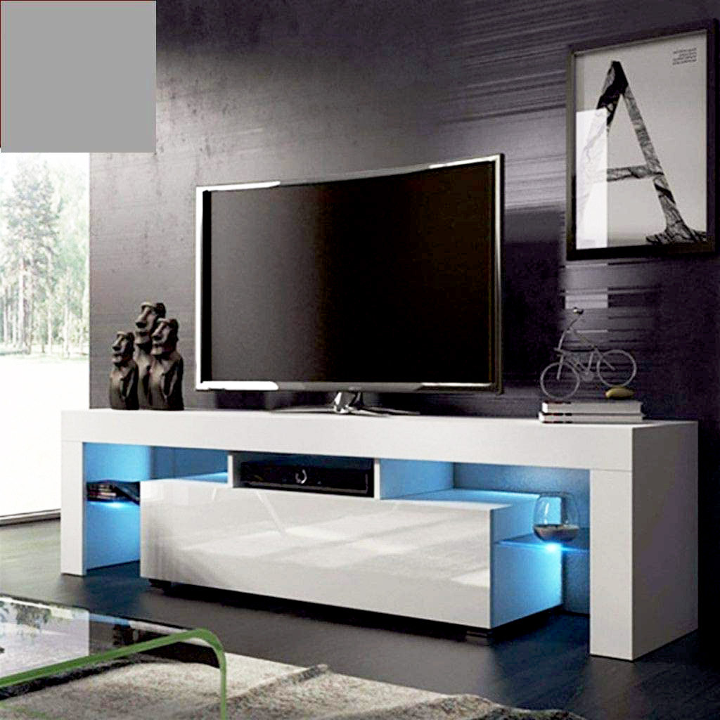 White Tv Stand With Led Lights, Corner Tv Stand With With Regard To Fashionable Scandi 2 Drawer White Tv Media Unit Stands (View 3 of 10)