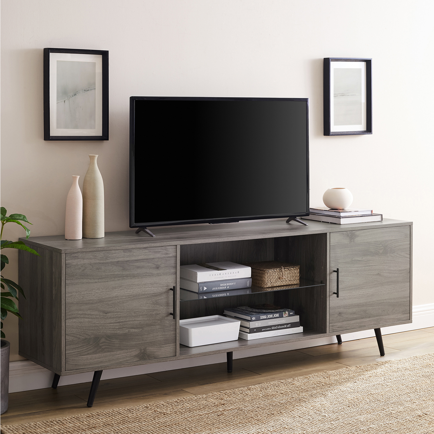 Wide Tv Stand With Glass Shelf – Pier1 Inside Most Popular Indi Wide Tv Stands (View 8 of 25)