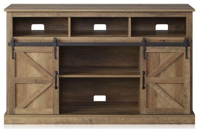 """Widely Used 52"""" Tv Stand Sliding Barn Door Console Entertainment Regarding Jaxpety 58"""" Farmhouse Sliding Barn Door Tv Stands In Rustic Gray (View 6 of 10)"""