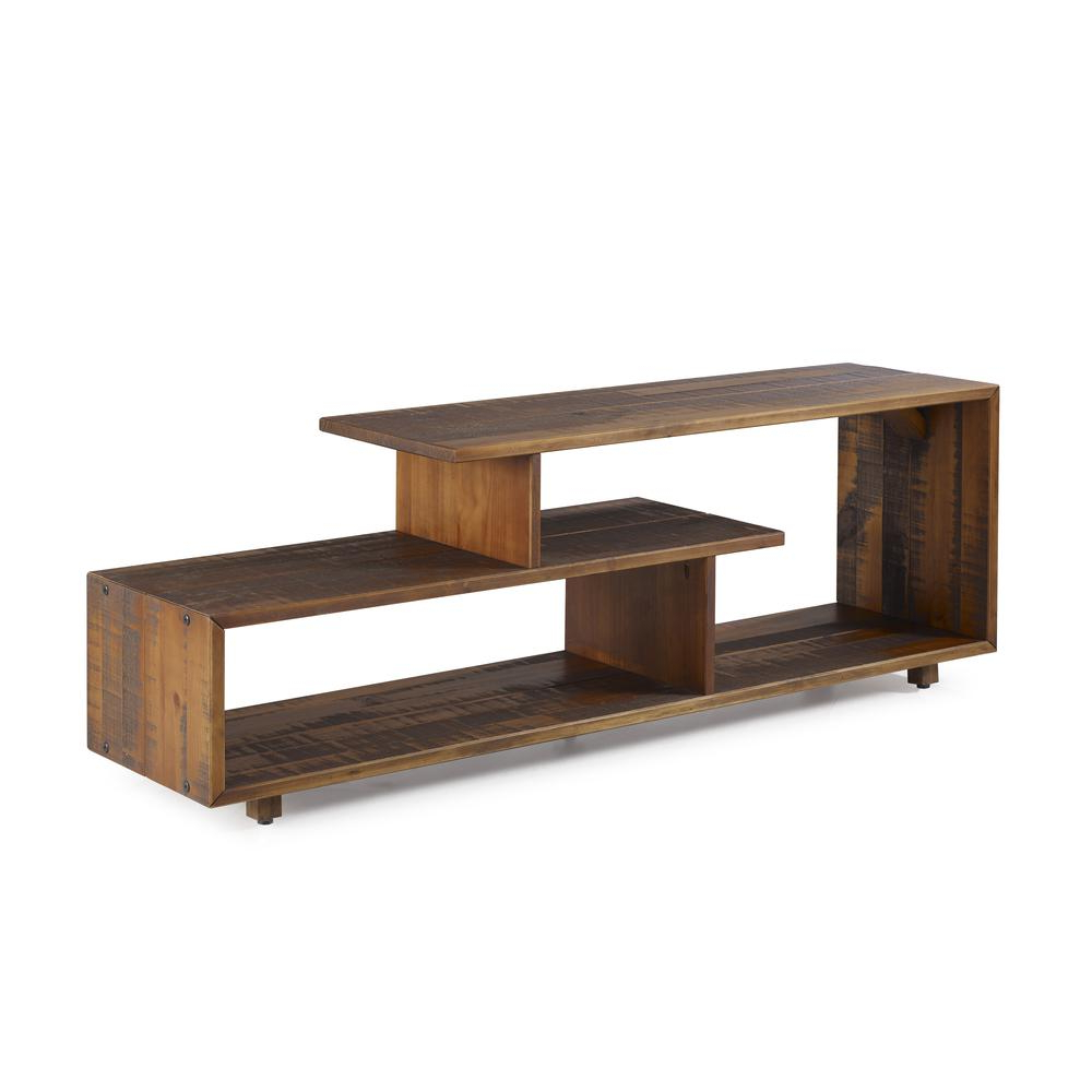"""Widely Used 60"""" Rustic Modern Solid Reclaimed Wood Tv Stand – Amber Throughout Modern Black Tv Stands On Wheels (View 10 of 10)"""