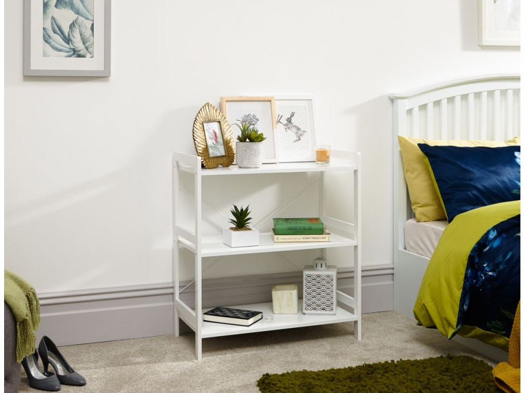 Widely Used Bergen Tv Stands Regarding Bergen Style Low Wide Modern White 3 Tier Open Shelf Unit (View 8 of 25)