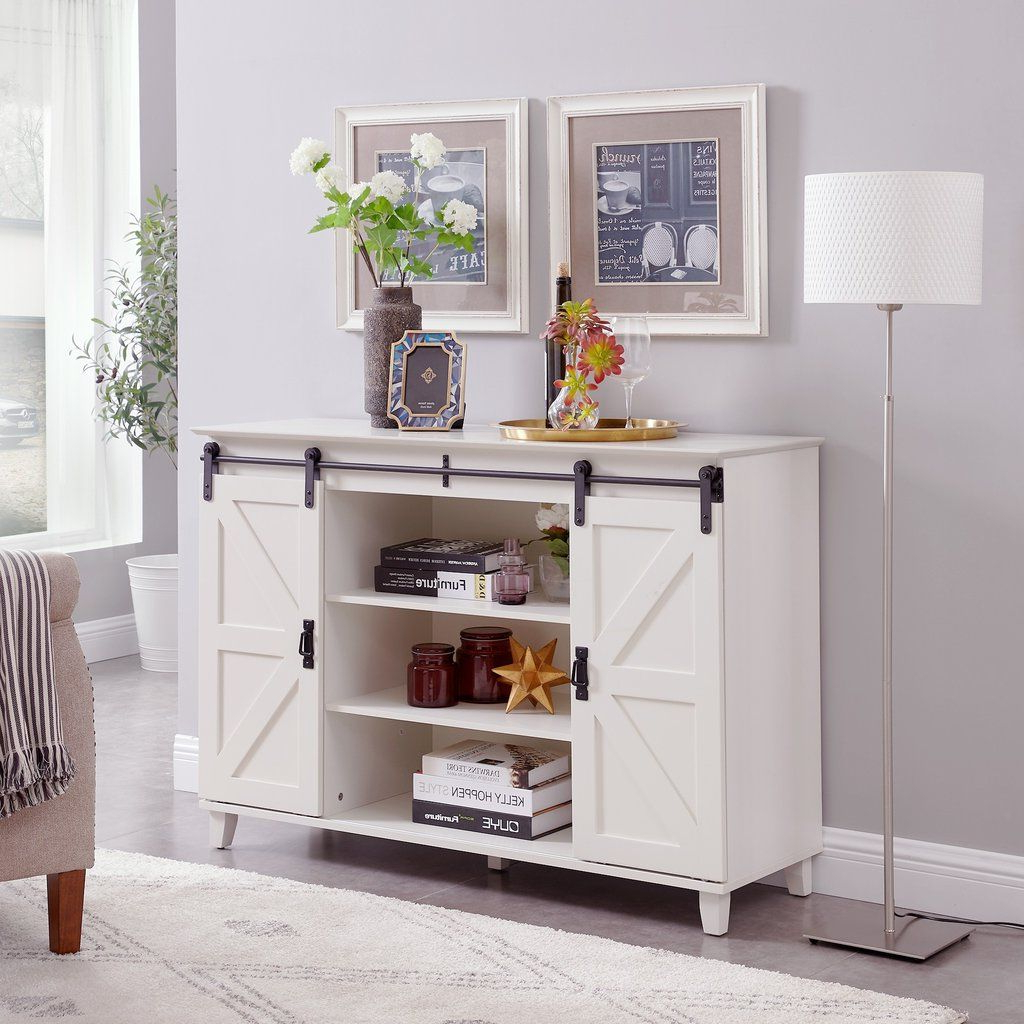 Widely Used Compton Ivory Corner Tv Stands Regarding Circlelink Sliding Barn Door Console Tv Stand, Ivory (View 14 of 25)