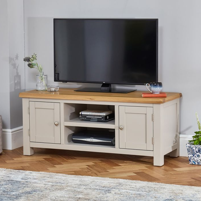 """Widely Used Cotswold Grey Painted Widescreen Tv Unit – Up To 60"""" Tv With Regard To Lucas Extra Wide Tv Unit Grey Stands (View 4 of 10)"""