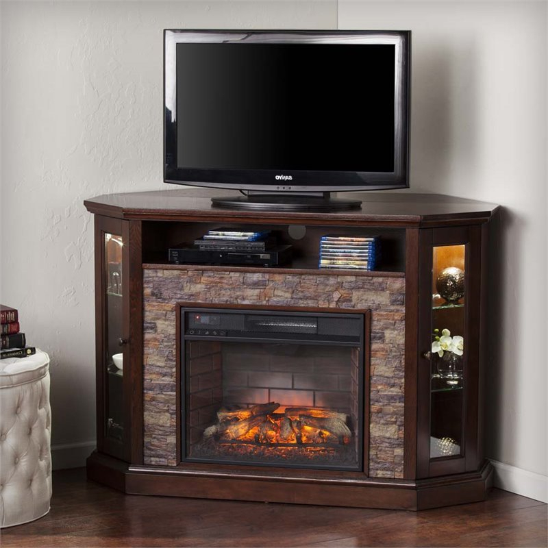 Widely Used Electric Fireplace Tv Stands With Shelf For Southern Enterprises Redden Corner Electric Fireplace Tv (View 6 of 10)