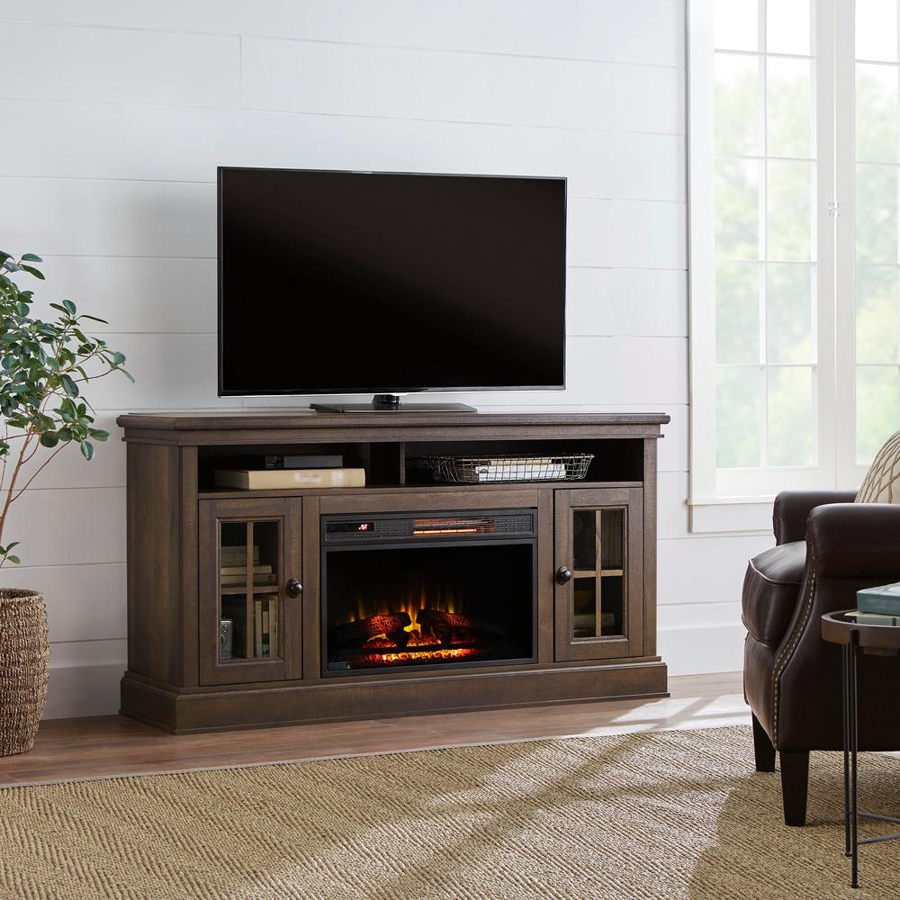 Widely Used Electric Fireplace Tv Stands With Shelf In Ameriwood Nelson Dove Gray 65 In (View 10 of 10)