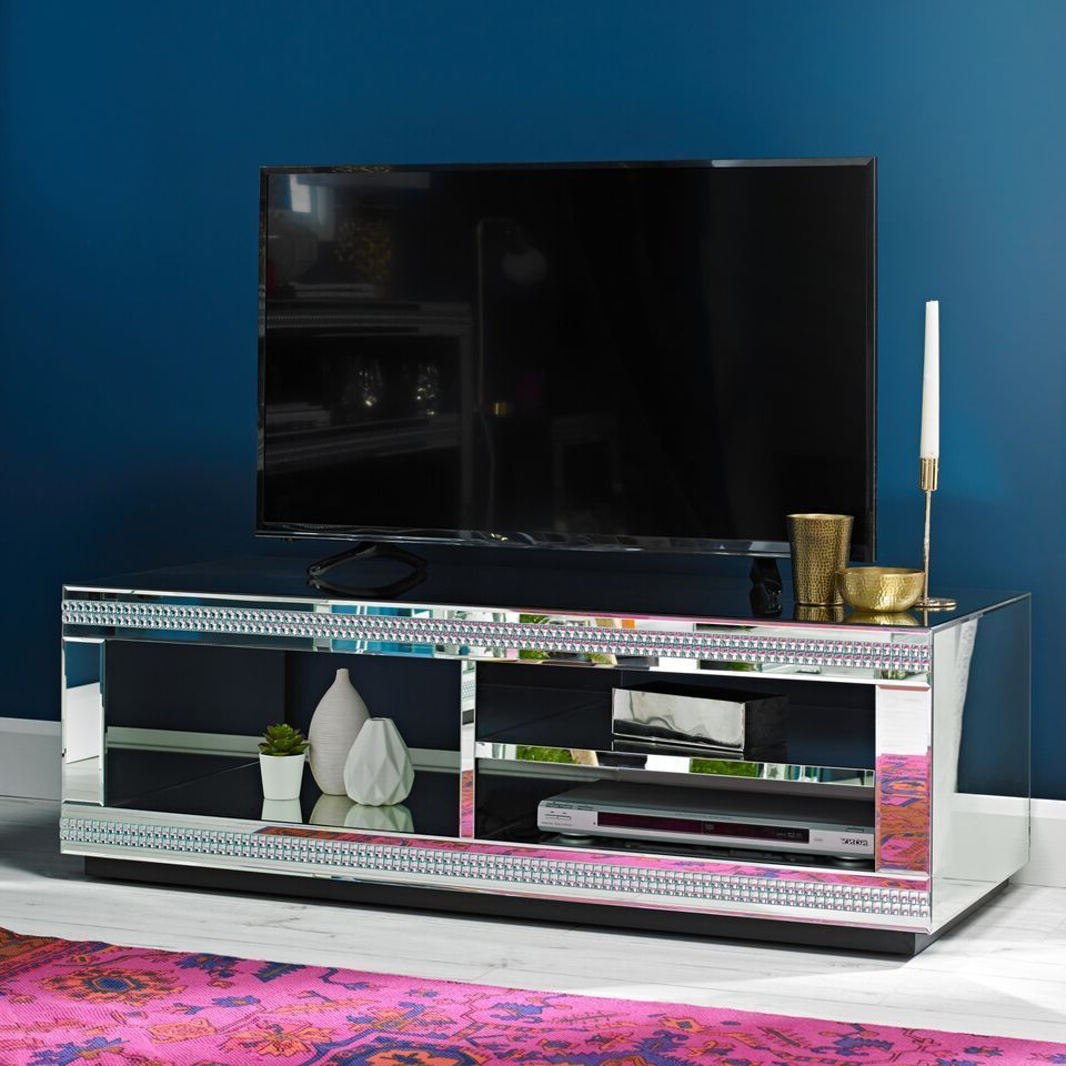Widely Used Loren Mirrored Wide Tv Unit Stands Pertaining To Crystal Diamante Jewelled Mirrored Glass Tv Television (View 8 of 10)