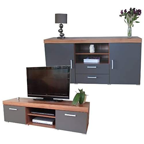 Widely Used Lucas Extra Wide Tv Unit Grey Stands With Regard To Tv Cabinets For Living Room: Amazon.co (View 3 of 10)