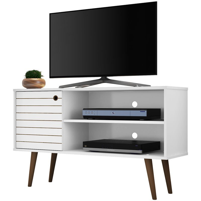 """Widely Used Mathew Tv Stands For Tvs Up To 43"""" Throughout Manhattan Comfort Liberty 43"""" Tv Stand In White (View 14 of 25)"""
