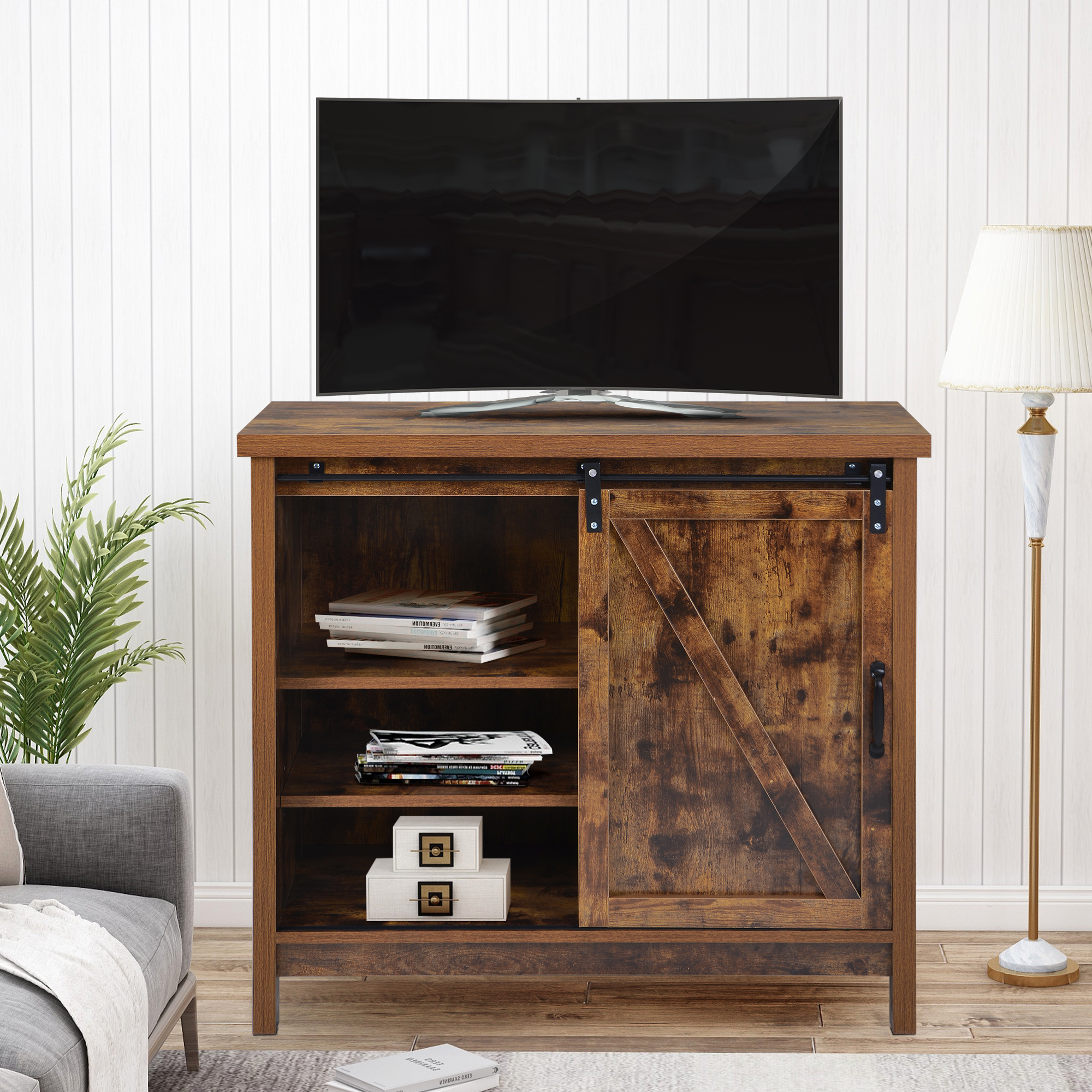 Widely Used Modern Farmhouse Tv Stand, 2020 New 35 Inch Television Throughout Modern Sliding Door Tv Stands (View 7 of 10)