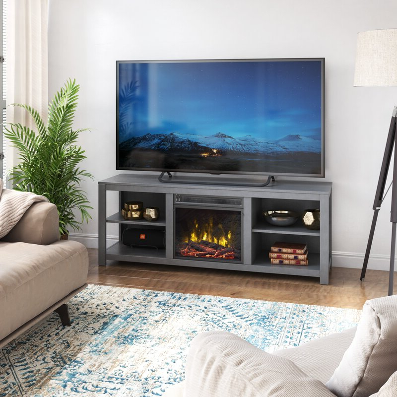"""Widely Used Twin Star Home Tv Stand For Tvs Up To 60"""" With Electric With Hetton Tv Stands For Tvs Up To 70"""" With Fireplace Included (View 12 of 25)"""