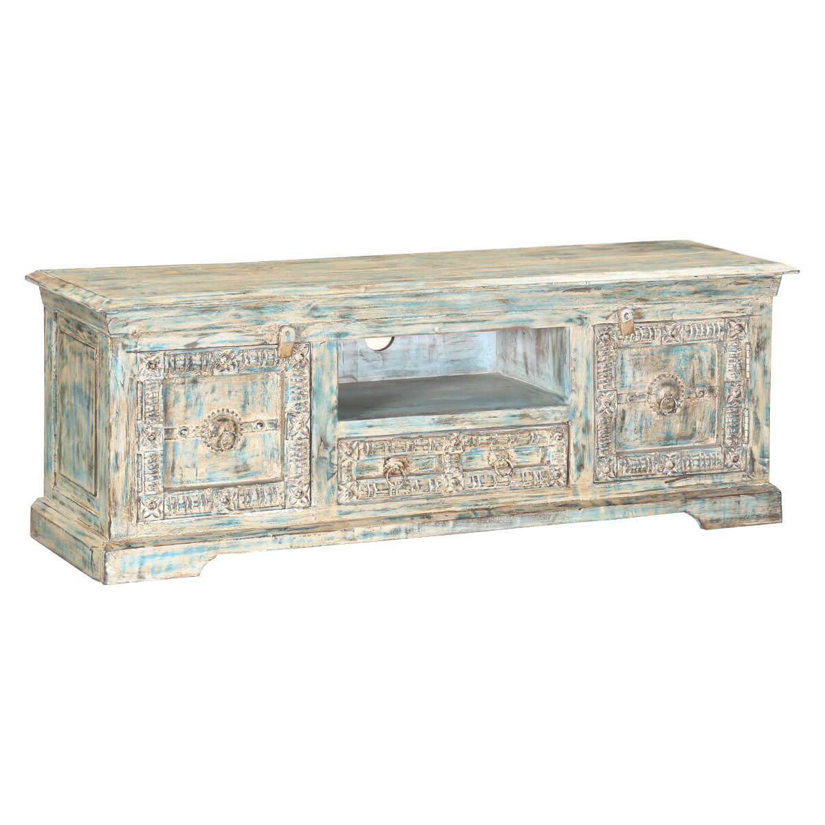 Winter White Reclaimed Wood Hand Carved Media Console Tv Stand With Regard To Well Liked Jakarta Tv Stands (View 6 of 10)