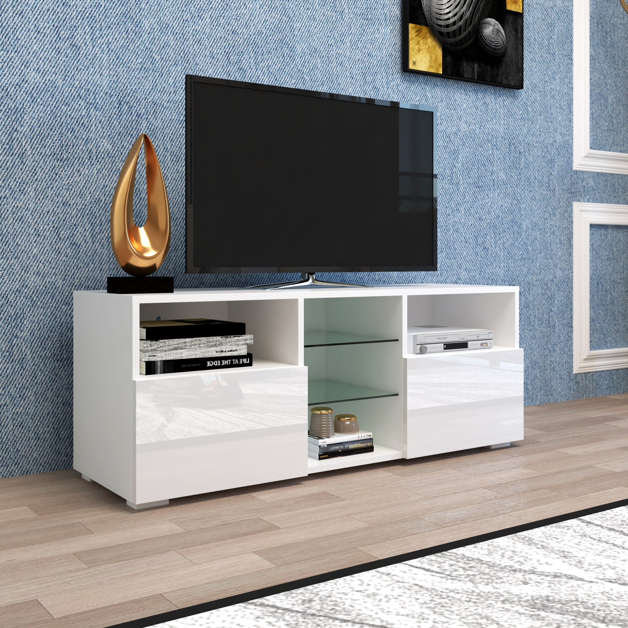 """Wolla Tv Stands For Tvs Up To 65"""" In 2017 Yofe Tv Entertainment Center For Up To 65 Inch Tv, High (View 5 of 25)"""