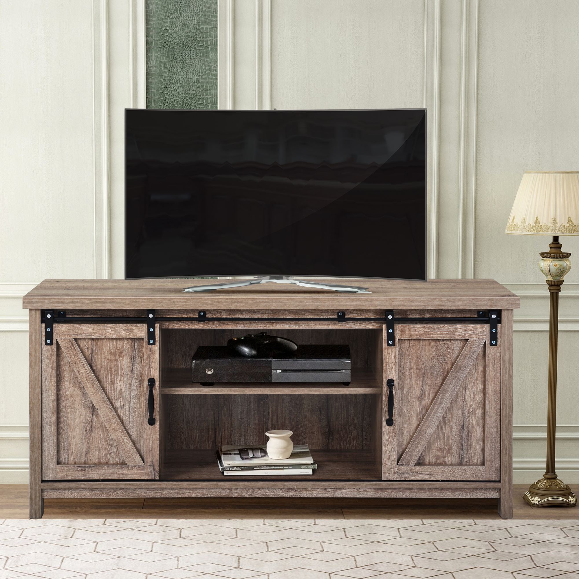 Wood Tv Stand, Modern Corner Tv Table Stands, Rustic Style Pertaining To Best And Newest Dark Brown Tv Cabinets With 2 Sliding Doors And Drawer (View 1 of 10)
