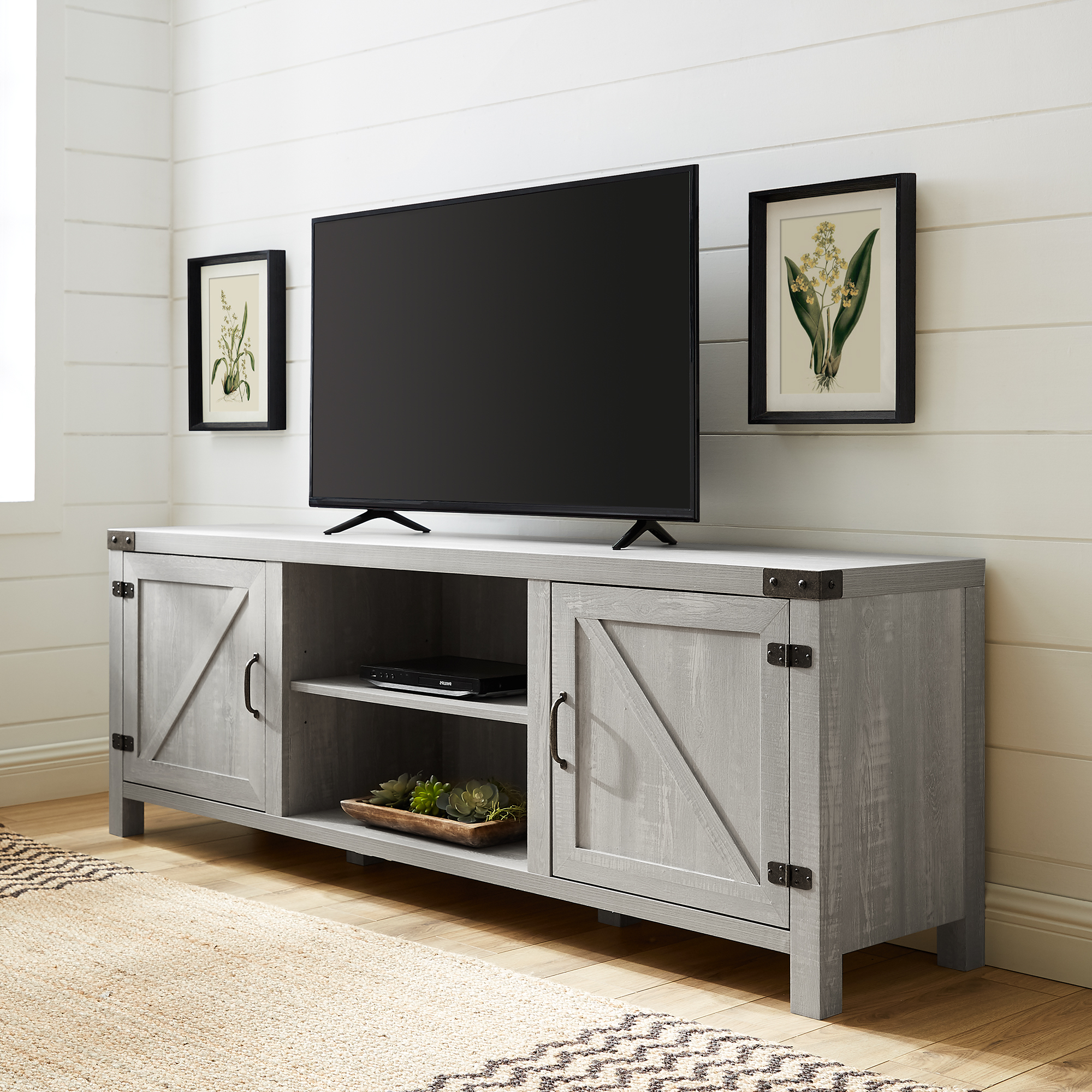 """Woven Paths Farmhouse Barn Door Tv Stand For Tvs Up To 80 With Regard To Current Kamari Tv Stands For Tvs Up To 58"""" (View 1 of 25)"""