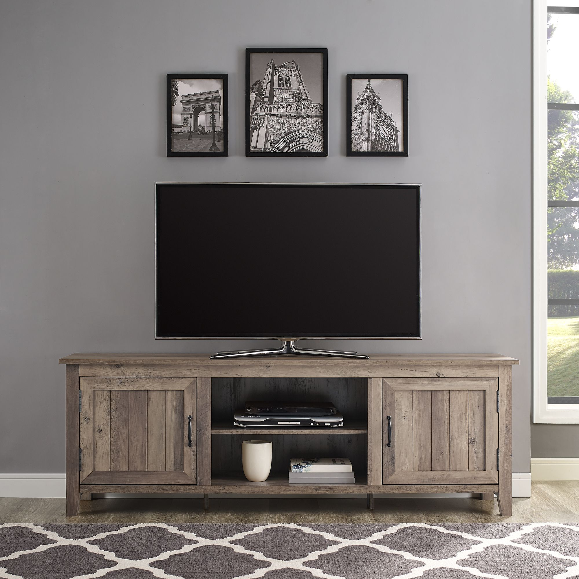 Woven Paths Farmhouse Barn Door Tv Stands In Multiple Finishes In 2017 Woven Paths Farmhouse Grooved Door Tv Stand For Tvs Up To (View 3 of 10)