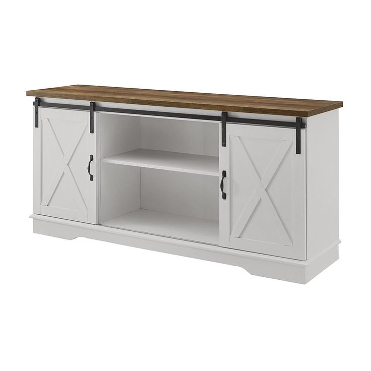 Woven Paths Farmhouse Sliding Barn Door Tv Stand For Tvs With Regard To Well Known Woven Paths Barn Door Tv Stands In Multiple Finishes (View 3 of 10)