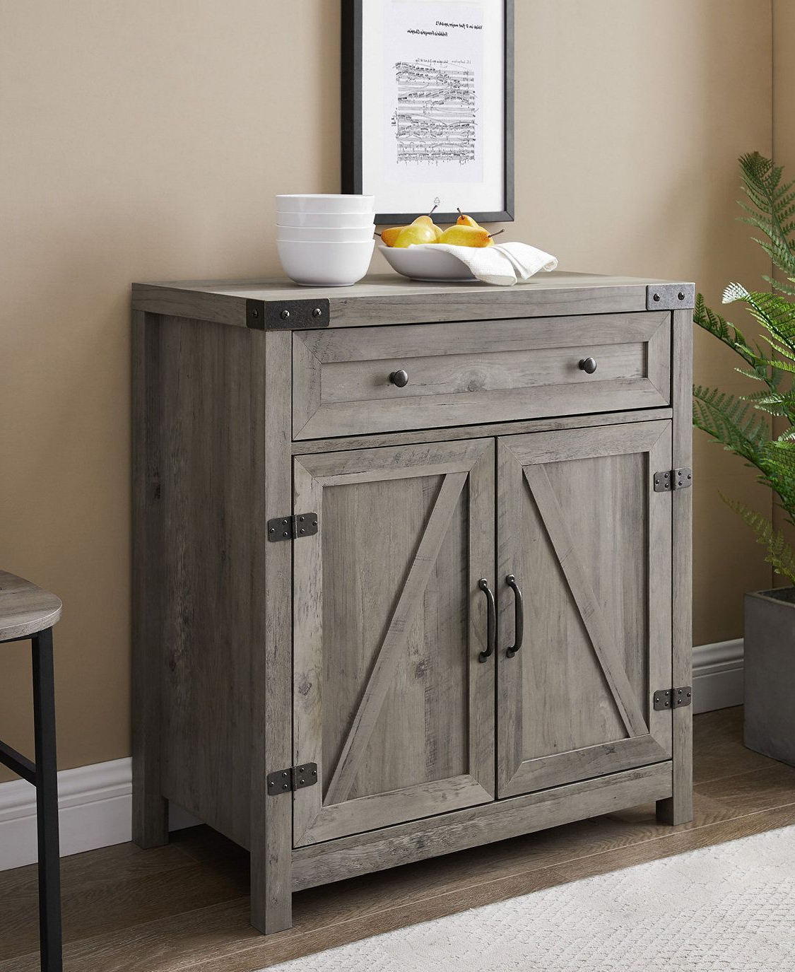 Woven Paths Farmhouse Sliding Barn Door Tv Stands With Multiple Finishes Intended For Favorite Manor Park Farmhouse Barn Door Accent Cabinet Reclaimed (View 9 of 10)