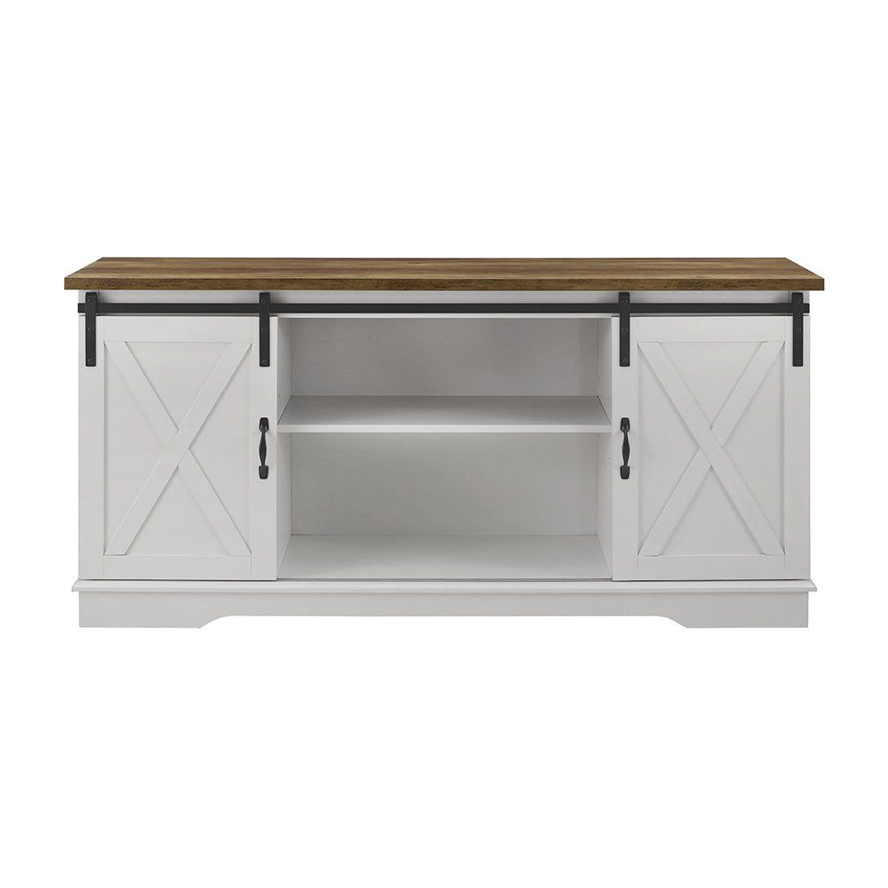 """Woven Paths Franklin Grooved Two Door Tv Stands Intended For Favorite Manor Park Barn Door Tv Stand For Tvs Up To 65"""", White (View 1 of 10)"""