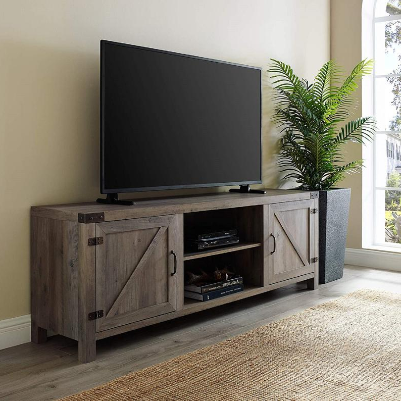 Woven Paths Franklin Grooved Two Door Tv Stands Regarding Most Up To Date Modern Farmhouse Barn Wood Stand With Cabinet Doors Tv's (View 7 of 10)