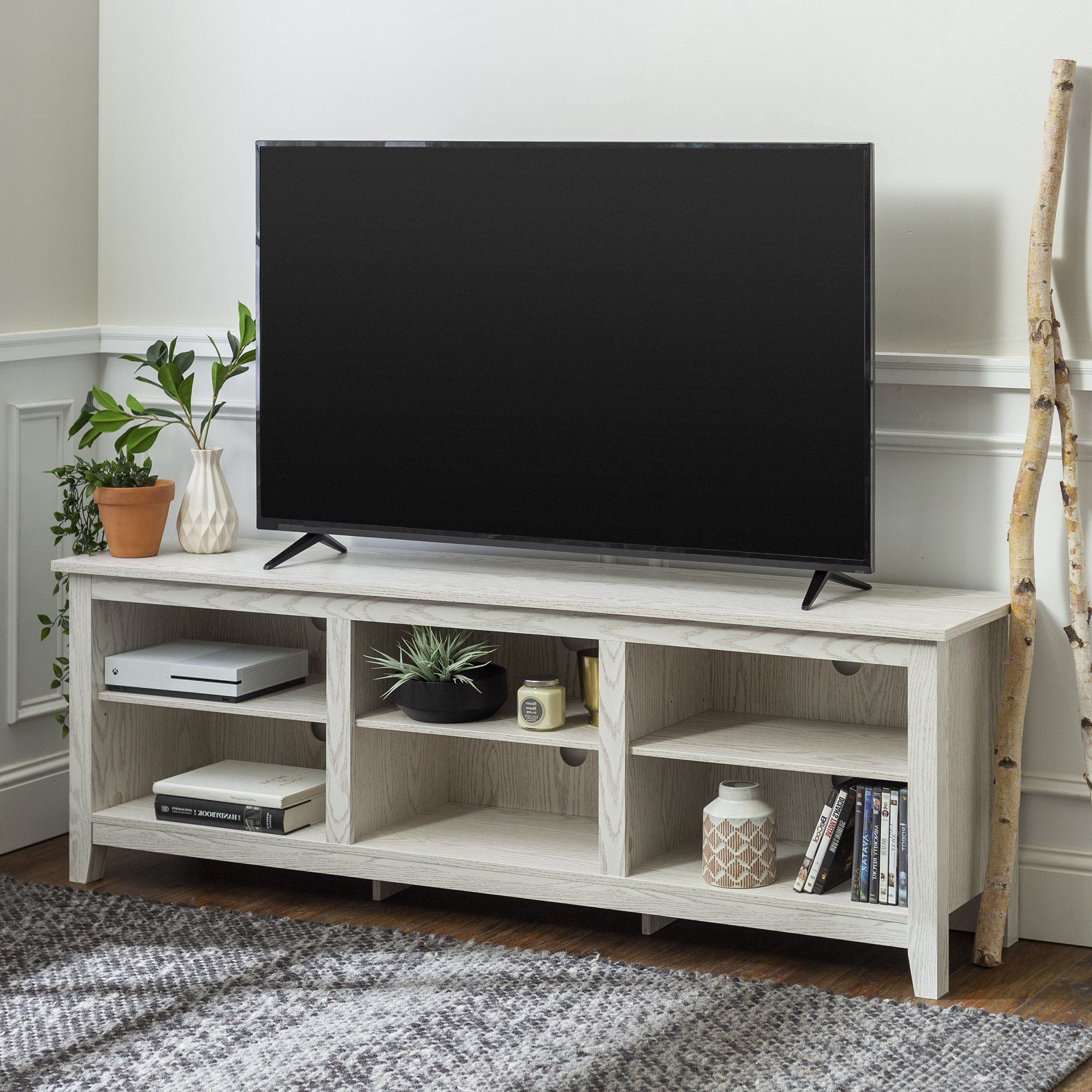 Woven Paths Open Storage Tv Stands With Multiple Finishes Intended For Recent Manor Park Wood Tv Media Storage Stand For Tvs Up To  (View 4 of 10)