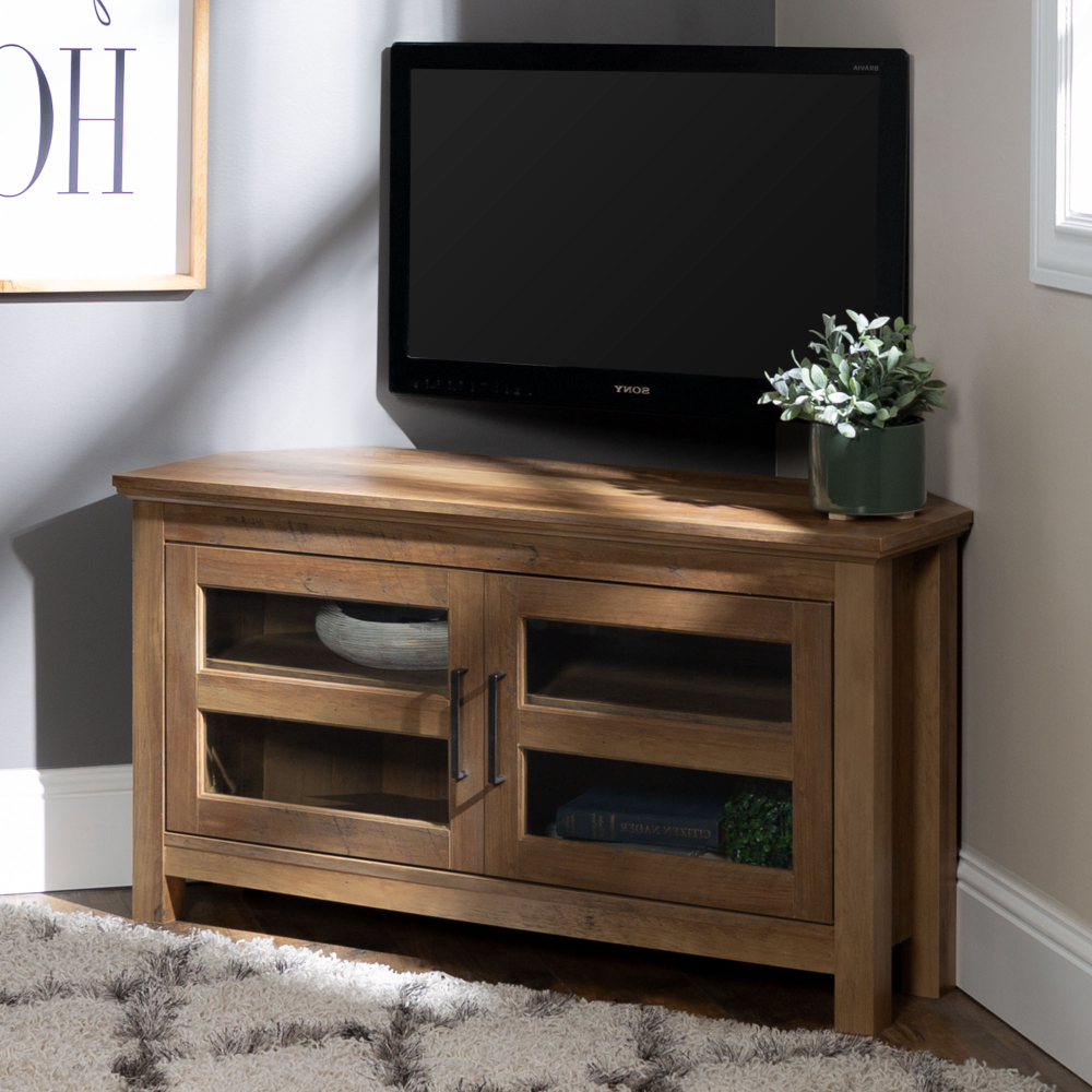 """Woven Paths Open Storage Tv Stands With Multiple Finishes With Regard To Trendy Manor Park Wood Corner Tv Stand For Tvs Up To 48"""" – Rustic (View 6 of 10)"""