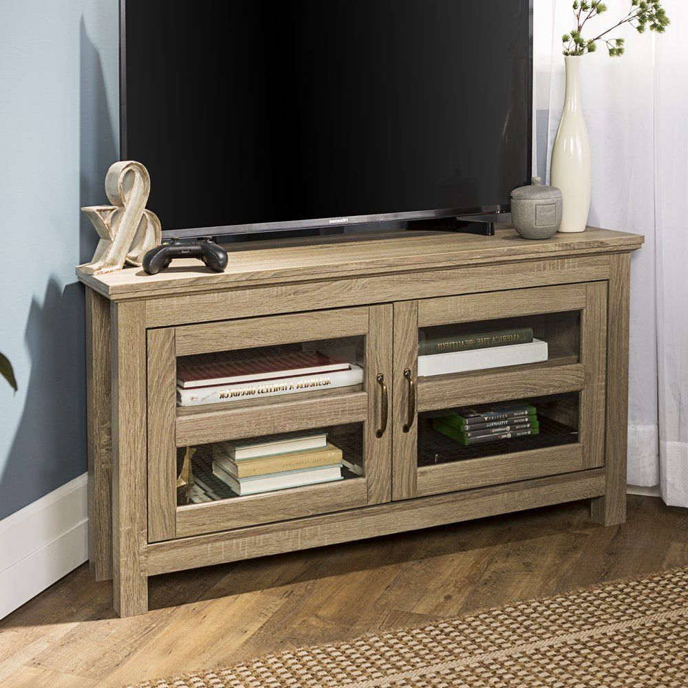 Woven Paths Transitional Corner Tv Stands With Multiple Finishes Pertaining To Well Liked Woven Paths Wood Corner Tv Stand For Tvs Up To  (View 1 of 10)
