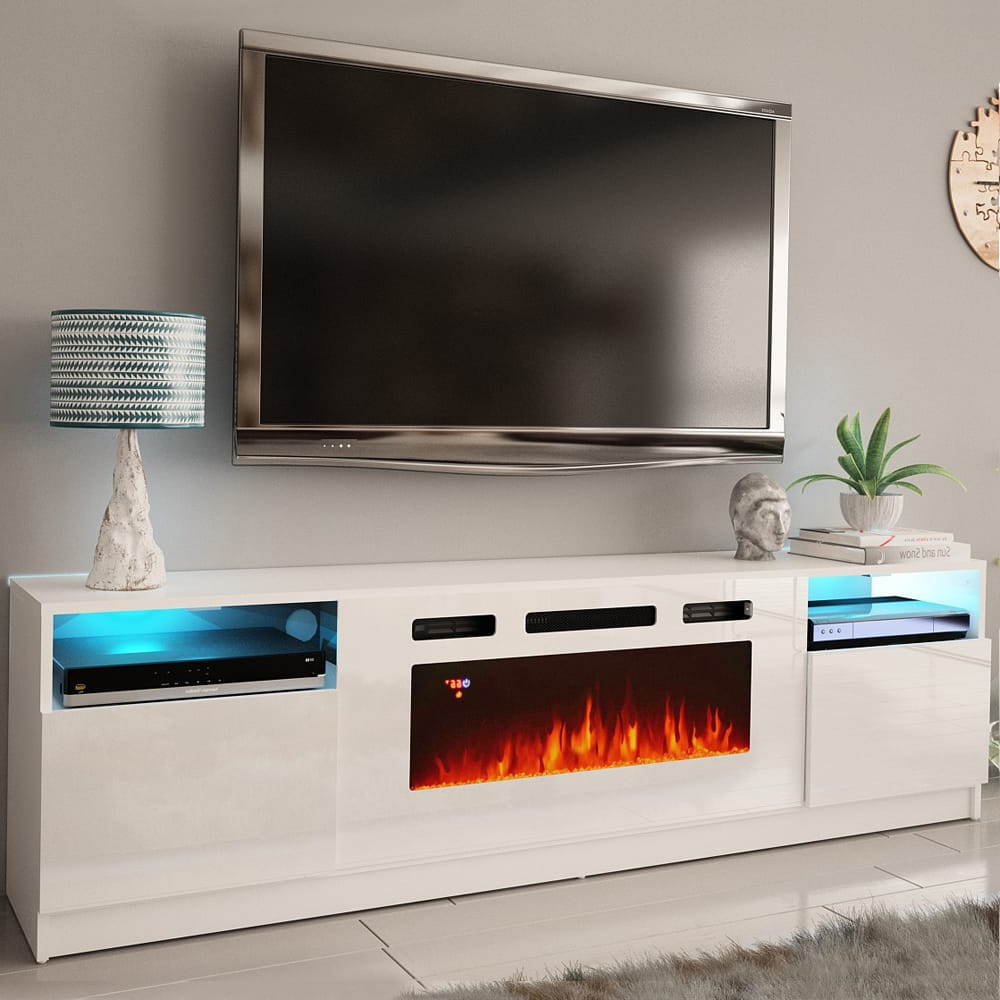 York Wh02 White Electric Fireplace Modern Wall Unit Throughout Favorite Solo 200 Modern Led Tv Stands (View 10 of 10)