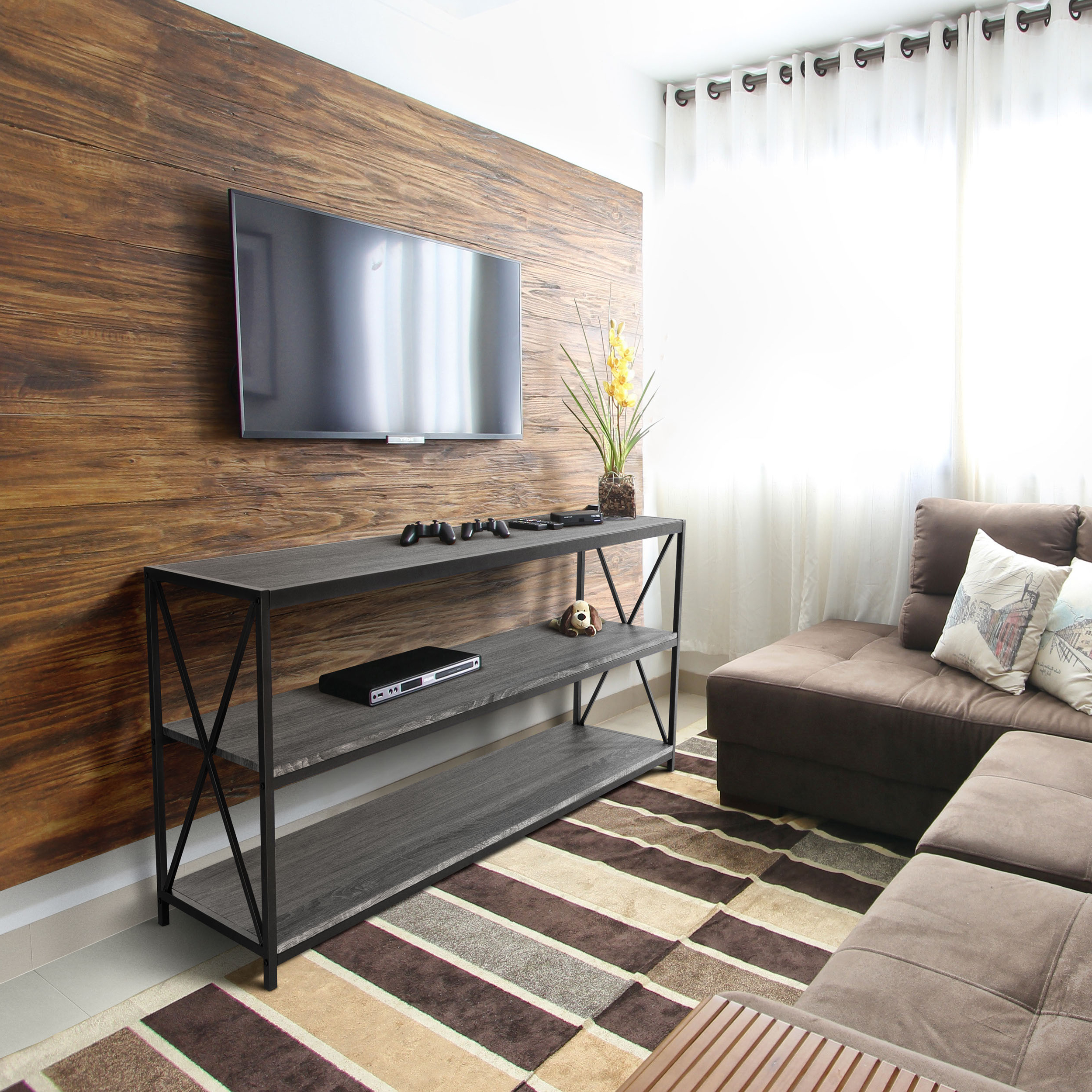 """Zenvida Universal Tv Stand For Tv's Up To 65"""" Metal Wood With Regard To Most Up To Date Valenti Tv Stands For Tvs Up To 65"""" (View 15 of 25)"""