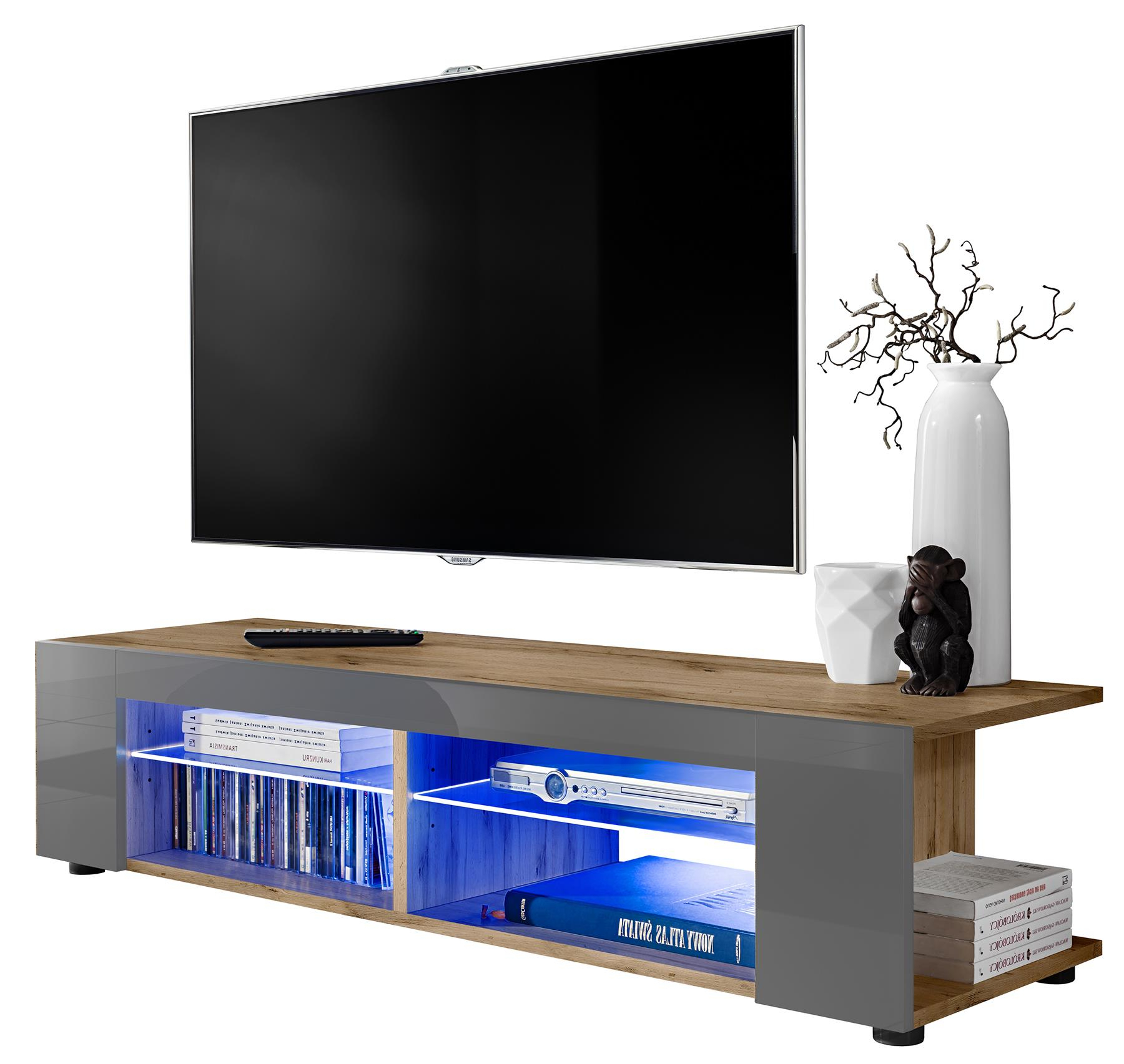 Zimtown Modern Tv Stands High Gloss Media Console Cabinet With Led Shelf And Drawers Inside 2018 Tv Stand Cabinet Led Shelf Entertainment Media Center (View 4 of 10)